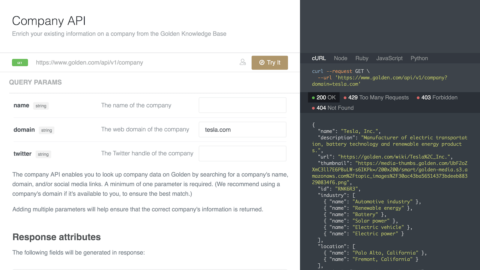 Screenshot of the Golden Company Enrichment API documentation.